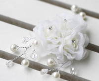 Wholesale Flexible Bridal Head flower Wedding hair clip Rhinestone with Pearl barrette Hair Accessories