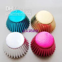 Wholesale Mini gold silver blue pink foil cupcake cases papers muffin liners cake cups baking mould