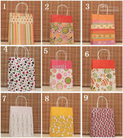 Cheap 9 Style (H27*W21*11cm) kraft paper gift bag, , Festival gift bags, Paper bag with handles, wholesale