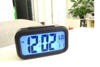 Wholesale Brand New Snooze Light Large LCD Digital Blue Backlight Alarm Clock Black and Silver Freeshipping