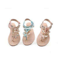 Unisex other PU Free shipping 2013 fashion new arrival summer casual butterfly women sandals shoe flat plus size XWZ019