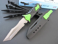 Wholesale Top quality Diving Knife Green Sanding Duo Serrated Blade Rubber Full Tang Handle ABS Sheath B HRC C Utility knife Xmas gift