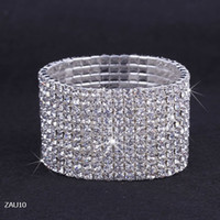 Wholesale 10 Rows Silver Plated Crystal Rhinestone Shiny Stretch Fashion Women Lady Chic Bracelet Bangle Wristband Jewelry Fit Wedding Bridal ZAU10
