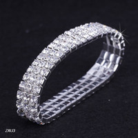Wholesale Trendy Rows White Series Rhinestone Bracelet Elastic Stretchy Wristband Bangle Party Wedding Bridal Jewelry ZAU3