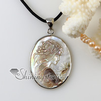 cameo necklace - oval cameo sea turtle girl white Penguin seashell mother of pearl oyster sea shell pendants for necklaces Cheap china jewelry fashion jewelr