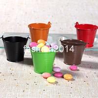 Favor Tins and Pails pails - 60pcs Cute miniature Galvanized pails Favor Holders candy box colour in stock