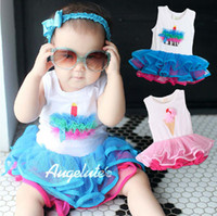 Girl 6-9 Months Sleeveless Hot sale 3pcs baby girl's Senshukai ice cream tulle dress romper ice cream romper dress L03