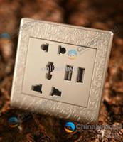 Wholesale Dual USB Charging Wall Socket AC110 V A Usb universal socket USB socket switch panel Carve patterns White Gold
