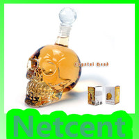 Wholesale Crystal Skull Head Shape Wine Drinking Vodka Glass Bottle Decanter Novelty Gift