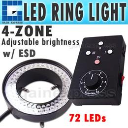 2017 anillo de luz led de la cámara HS-72 Cuatro zonas de control de luz del anillo 62 mm 72 LED Microscopio Cámara Iluminador Lente Flash anillo de luz led de la cámara oferta