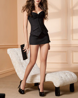 Wholesale 2014 Hot Selling Black Corsets Dress with Skirt Women Summer Sexy Bustiers Slimming Body Shapers