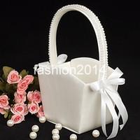 Wholesale fast shippig fashion devise White Florish Wedding flower girl basket