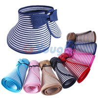 Wholesale New Fashion Girl Lady Beach Sun Visor Foldable Roll Up Wide Brim Straw Hat Cap