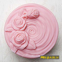 Silicone Rubber   Free shipping pink rose roses Handmade soap silicone molds, cake candle mould,sugar craft toolswholesale