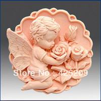 Wholesale D Silicone mold Angle and rose flower soap mold fondant candle molds sugar craft tools mold silicone