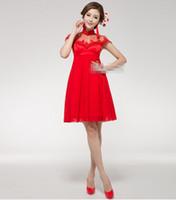 Wholesale Custom Made Short Long Cheongsam Dress Two Style Ball Gown Pregnant High Waist Bridal Wedding Party Toast Dress Red Cheongsam