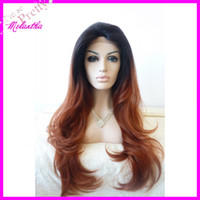 Wholesale hand sewned Quality Japanese heat resistant fiber Big curl High grade Synthetic lace front wig black amp brown Mixed