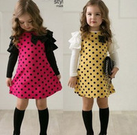 Wholesale 2014 Ruffles Tiered Sleeve Bowknot Polka Dots Long Sleeve Cotton Children Girls Dress Gymboree Girls Autumn Dress B0841