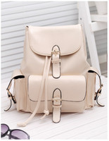 Wholesale Fashion Joker Lady Women PU Leather Shoulder handbag Tote Hobo Purse Pure color Leisure Double shoulder Backpack Style