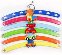 Wholesale funlife cm long Children Cute Cartoon Animal transportation Pattern series Wooden Clothes Hangers mix assorte