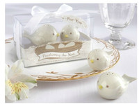 Wholesale High Quality Wedding Favor sets Feathering the Nest Ceramic Birds Salt amp Pepper Shakers Wedding gifts Baby