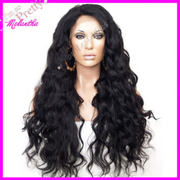Wholesale hot selling b color natural black Synthetic Lace Front wig body wave