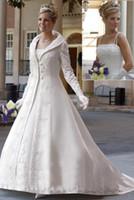 basque jacket - 2016 Elegant Winter Wedding Dresses With Jacket A Line Strapless Neckline With Long Sleeve Satin Court Train Bridal Dresses ZJ244