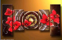 Wholesale Red Of Flower Hot selling Handcraft Modern oil painting on canvas P