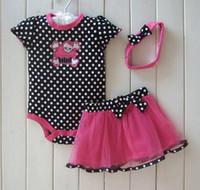 0-2T baby girl skull - 1Set summer girls pc sets infant skull romoers white dot baby jumpers girls pink tutu skirts dress cute headbands Hallowmas Gift T