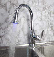 Wholesale LED Kitchen chrome Brass basin sink mixer tap Swivel amp Pull Out Faucet JN807