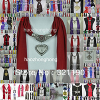 Cotton scarf jewelry - Mixed design amp colors Each scarf jewelry with beads scarves heart charms pendant necklace cotton soft cheap DHL FedEx