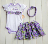 Wholesale Summer Hot Sale Hallowmas Gift Girls sets infant rompers baby jumpers girls purple skirts dress baby heandbands T u choose size