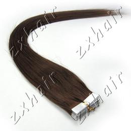 """Les brunes à vendre-Vente en gros - 1 set 16 """"-24"""" bande de peau dans les extensions de cheveux humains Remy # 04 brun moyen, 20pcs / set"""