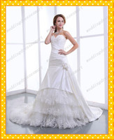 Wholesale Satin And Tulle Fitted A Line Floral Romantic Wedding Dresses Sweetheart Neckline Tiers Appliques Beaded Sequins Corset Bridal Garden Gowns