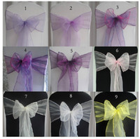 Wedding Chair Spandex / Polyester  Free Shipping -- 50 PCS Wedding Organza Chair Cover Sashes Sash Party Banquet Decor Bow Multicolor 36 Colors