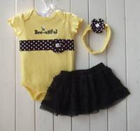 al por mayor amarillo falda linda-muchachas del verano al por menor de 3 piezas conjuntos de bebé amarillo romoers arco mono del bebé del bebé del tutú negro de vestir chicas de la colmena de las faldas de cintas para la cabeza lindo tamaño de la selección
