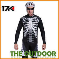 Wholesale Bike Jersey Sets Men s Long Sleeve Size Jersey T Shirt Riding Pants Black Clothing Bicycle Bicycl Skull Mountain Cycle Apparel