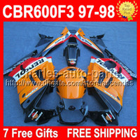 7 Free gifts+ Tank Repsol Orange red black For HONDA CBR600F3...