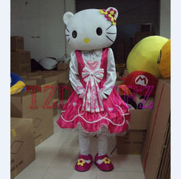 Wholesale Lovely Pink Cat Girl Mascot Cartoon Costume Halloween Christmas Costume Fancy Dress