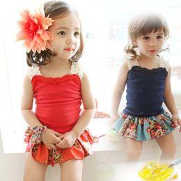 Fashion Children Clothing Girl Set Summer Girl Wear Lace Tank Tops + Skirt Pants Kid's Sets