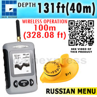 Wholesale Russian Menu FFW Digital Wireless Sonar Dot Matrix m ft Fish Finder Sonar Radio Sea Contour Live Update Alarm Temperature C F