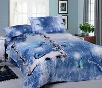 Wholesale snowflakes butterfly blue cool cotton quilt duvet cover bedspread set queen size bedding sets bed in a bag