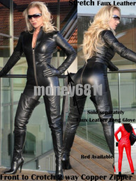 Wholesale Sexy BLACK PU Elastic Faux Leather Zentail Bodysuit Catsuit Gothic Overall