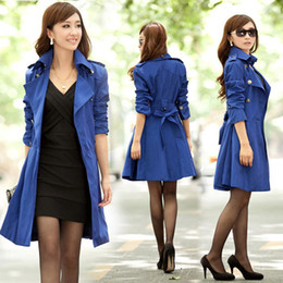 Wholesale Elegant Women Lady Lapel Slim Fit Double Breasted Coat Long Outwear Trench Coat