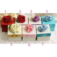 Wholesale 7colors Luxury European Flower Diamond Wedding Candy Box Case With Silk Ribbon Wraps Wedding Party Gift