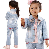 2T-3T Girl Winter Baby Clothes Wholesale Girls Clothes Set Baby Outfits 3pcs Lace Coat Jackets Bottoming Shirt Pants