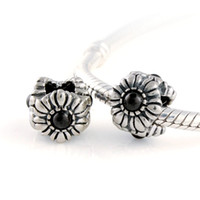 Wholesale 925 Sterling Silver Hemalite Floral March Birthstone Charm Bead Fits European Pandora Style Beads Bracelets