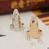 Wholesale Diamond Finger Nail Ring Jewelry Blingbling Plated Gold Silver Womens Mens Couple Rings