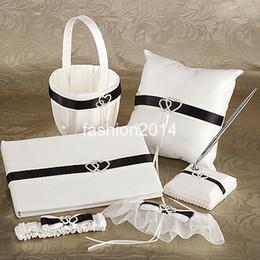 Wholesale novel design set white and black riband Wedding Gift Pen Holder Guest Books Basket Garters Quit pillow Sets