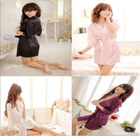 Wholesale Hot sale woman s sexy lingerie meryl long sleeve bathrobe sleepwear dress night robe underwear QQ01